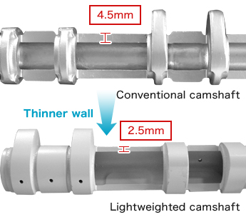 Camshaft with lightweighting technology (as-cast hollow casting and thin wall casting)